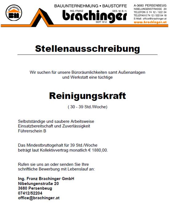 Stellenausschreibungen - Ing. Franz Brachinger - St. Oswald - http ...