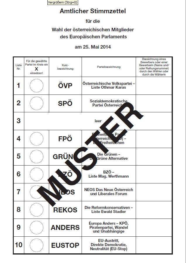 Europawahl wahlzettel muster